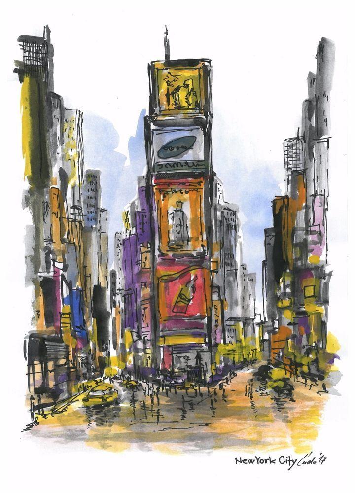 Watercolor painting ORIGINAL New York City #IllustrationArt