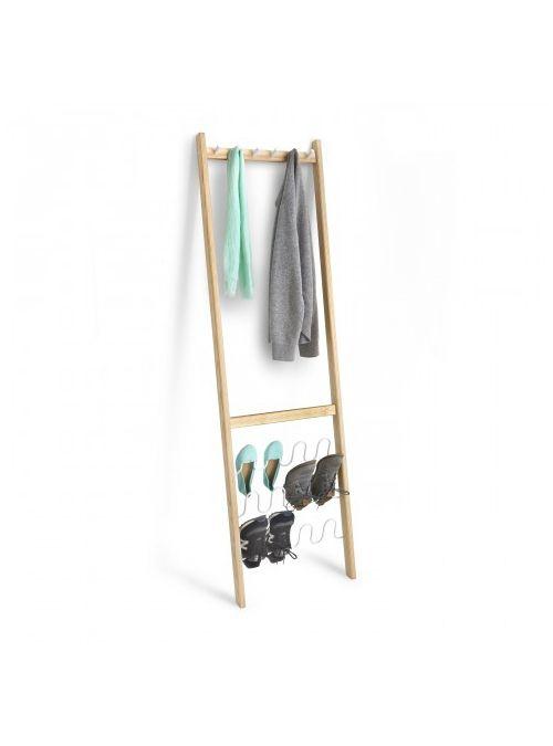 Stand appendiabiti da parete con porta scarpe Leanera coat & shoe di Umbra design. Multifunzionale appendiabiti da parete cappotti e scarpe. Include 6 ganci e può contenere fino a 6 paia di scarpe.  PROGETTAZIONE ISPIRAZIONE: Ispirato dalla ibridazione di pezzi di organizzaori da casa. Design minimal con un massimo di funzioni.      Stoccaggio per entrambi i cappotti e scarpe in piccoli spazi