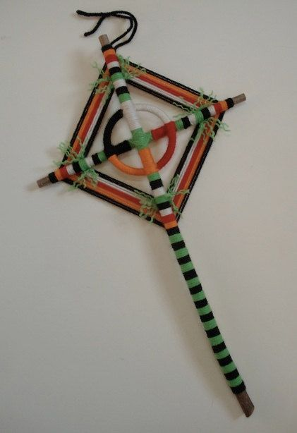 Medicine Wheel  Ojo de Dios  Prayer Stick by HighDesertBohemian