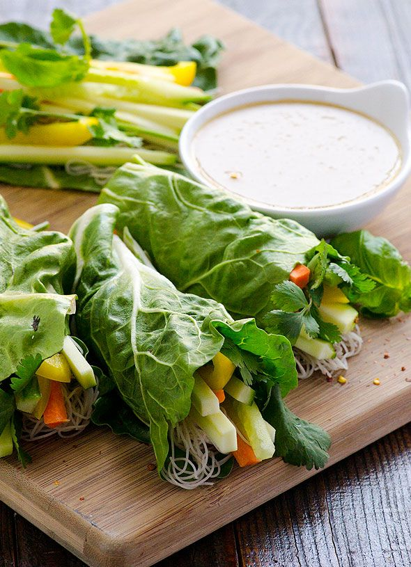 Fresh Vegetable Spring Rolls rolled in swiss chard with brown rice noodles, veggies and easy peanut sauce for dipping.   ifoodreal.com
