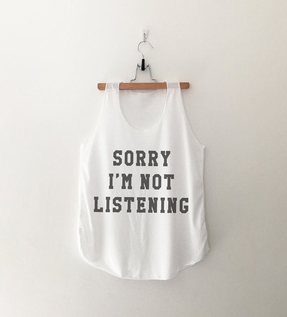 Sorry I'm not listening Funny workout tank top summer graphic tank women  work out ladies tank tops teen clothes gift