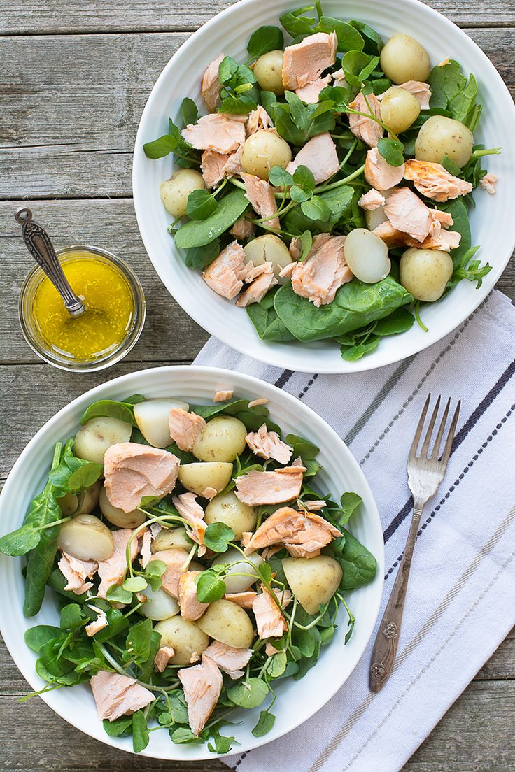 Quick and simple warm salmon and new potato salad with a lemon, honey & mustard dressing. Gluten Free.