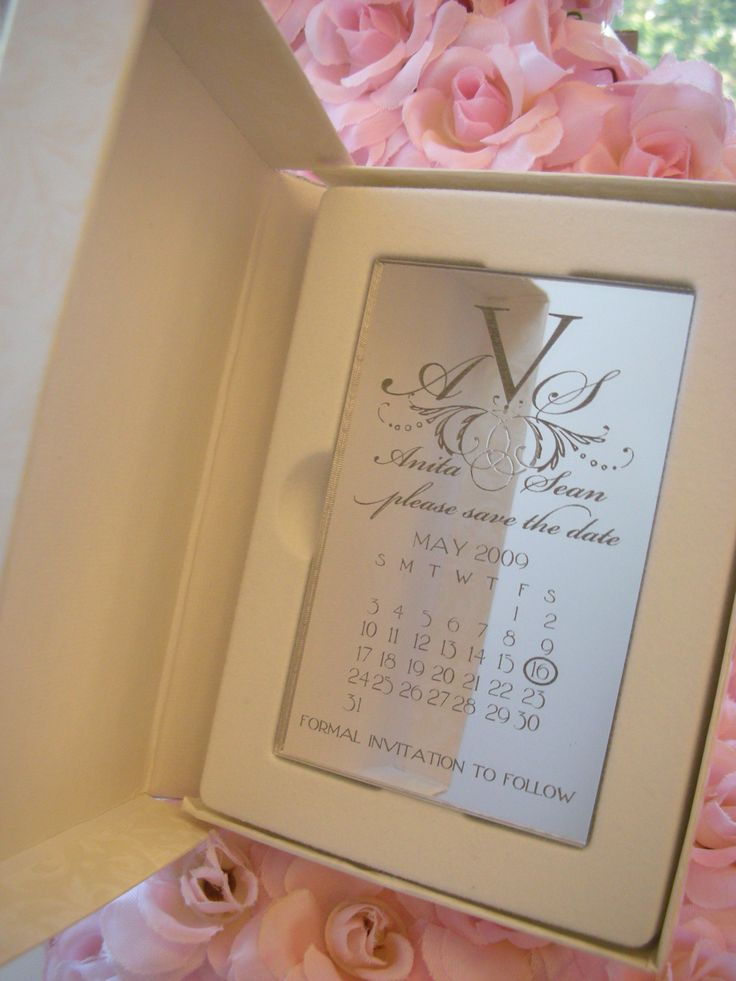 engraved mirror save the date magnet - wedding, anniversary or,