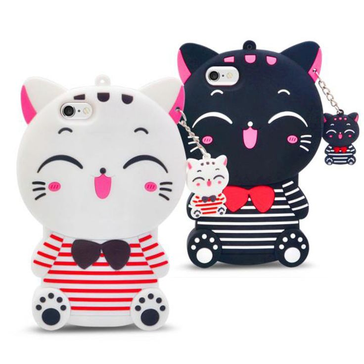 3d striped lucky cat soft silicone mobile phone case cover
