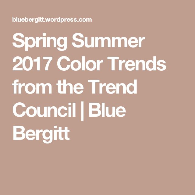 Spring Summer 2017 Color Trends from the Trend Council | Blue Bergitt