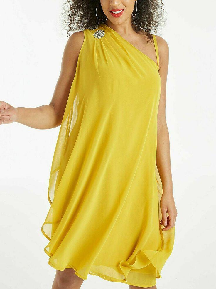 Kleid Gr.5056 Knielang Sommerkleid Gelb Strass festlich ...