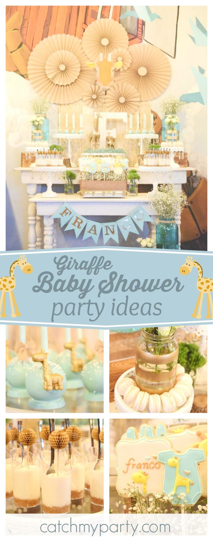 Winnie the pooh baby shower centerpiece ideas 48pc baby shower winnie - Check Out This Cute Giraffe Themed Baby Shower The Dessert Table And Sweet Treats Are