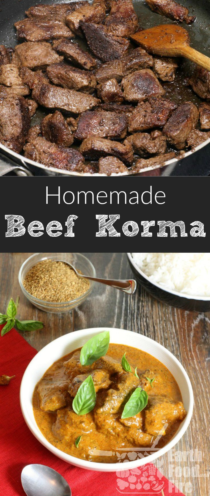 A popular curry dish with Persian and Indian history, this beef korma recipe is easy to make at home with everyday ingredients. Create your own curry blend or use a store bought one to make this simple and flavorful beef korma any day of the week.  #curry #beef #korma #glutenfree via @earthfoodandfire