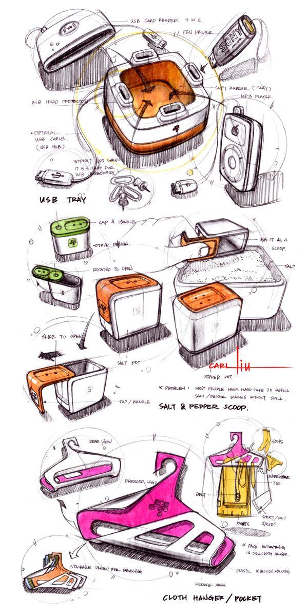 sketches by designer Carl Liu