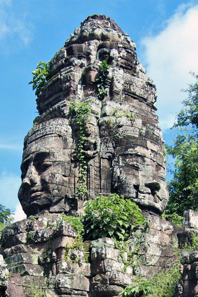Bayon Temple - the four faces  the Bodhisattva Avalokiteshvara (Lokeshvara) are also accepted as images of King Jayavarman VII