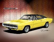 Dodge Charger,Super bee, car art print poster by Danny Whitfield