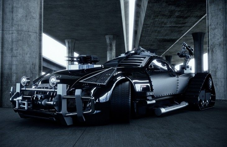 Maybach Exelero concept car (2005). From diseno-art.com: Tank-inspired tracks in place of rear wheels, dual rear machine-guns mounted on robotic arms, armor plating for the passenger compartment, a multi-purpose bull-bar up front, protective grilles covering the headlights, and a rocket-launcher and gun turret bolted to the hood.