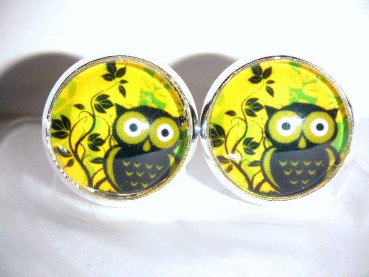 Ohrstecker Eule Tiere & Insekten Damen Ohrringe Ohrschmuck Modeschmuck Glas gelb