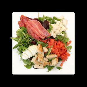 bacon salad with caramelized onions mushrooms and blue cheese see more ...
