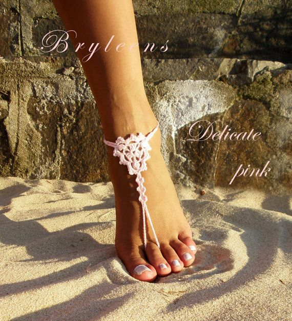 Delicate pink Crochet Barefoot SandalsFoot by Bryleens on Etsy