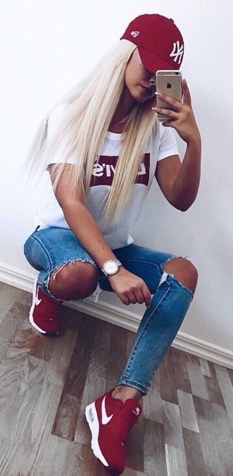 summer outfits  Red Cap + White Printed Tee + Destroyed Skinny Jeans + Red Sneakers
