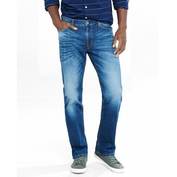 Express Straight Leg Loose Fit Flex Stretch Jeans ($80) ❤ liked on Polyvore featuring men's fashion, men's clothing, men's jeans, blue, mens low rise jeans, men's relaxed fit jeans, mens jeans, express mens jeans and mens super skinny stretch jeans