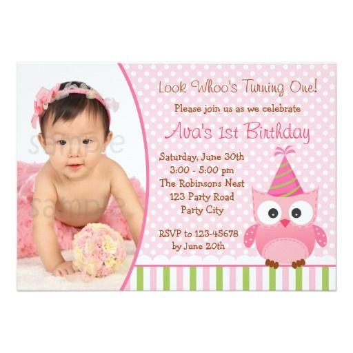 "Owl 1st Birthday Invitation with Photo for Girls 5"" X 7"" Invitation Card"