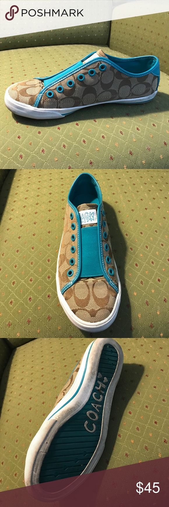 Coach Tennis Shoe - Like New! Brown & turquoise Coach tennis shoe - barely any wear and like new! Coach Shoes Sneakers