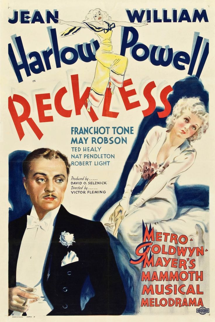 Reckless is a 1935 American musical film directed by Victor Fleming and starring Jean Harlow, William Powell and Franchot Tone. David O. Selznick wrote the story, using the pseudonym Oliver Jeffries, basing it loosely based on the scandal of the 1931 marriage between torch singer Libby Holman and tobacco heir Zachary Smith Reynolds and his death by a gunshot wound to the head.