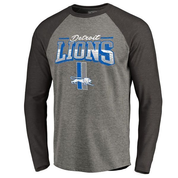 Men's Detroit Lions NFL Pro Line by Fanatics Branded Heathered Gray/Black Throwback Collection Season Ticket Long Sleeve Tri-Blend Raglan T-Shirt