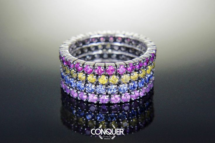 We revistited the timeless classic eternity ring with some affordable and colorfull sapphire, Ruby & Tsavorites! All Natural Gems!