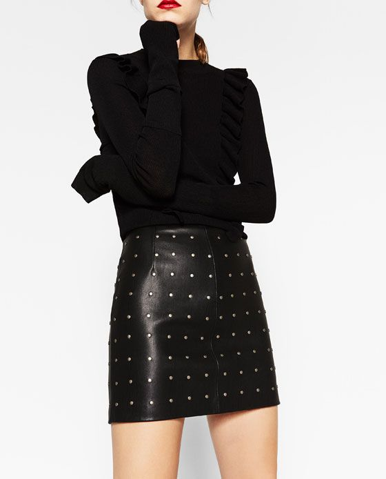 Image 2 of SHORT LEATHER-EFFECT SKIRT from Zara