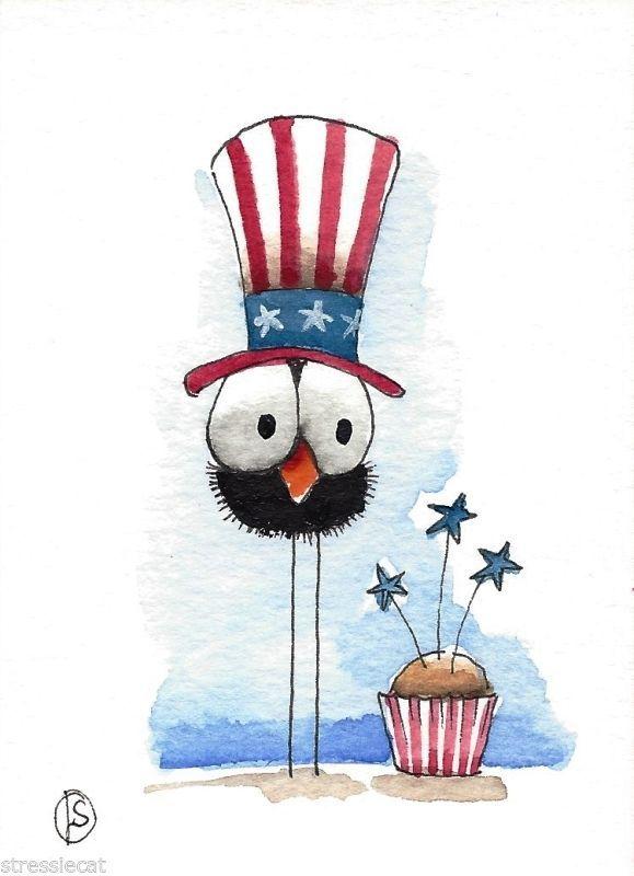 ACEO Original watercolor painting patriotic art whimsical bird crow cupcake