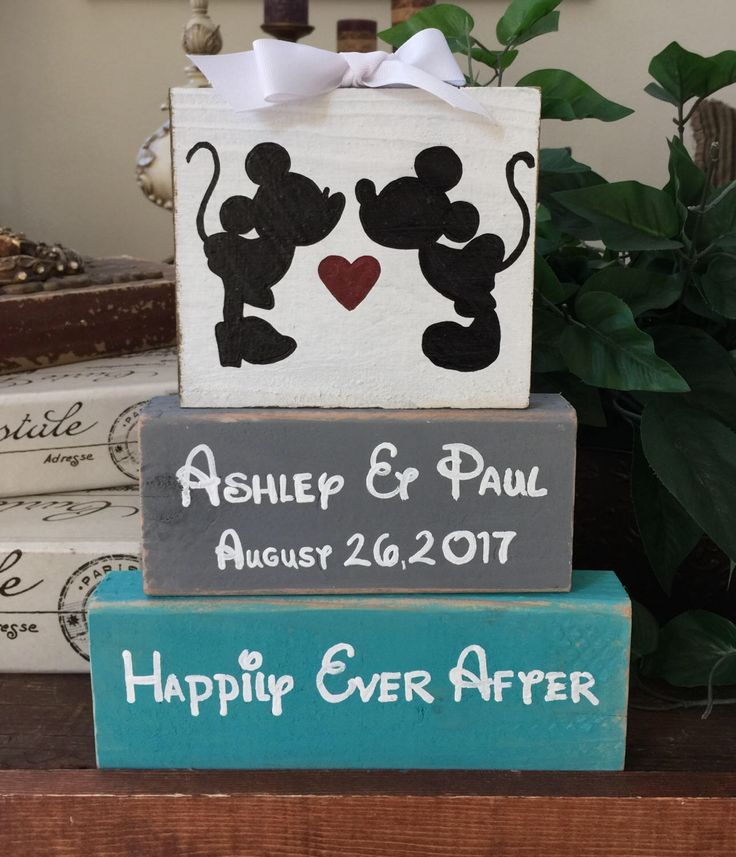 Disney, Wedding, Personalized Mickey & Minnie Mouse, Disney wood block set, family name, brides name, grooms name, wedding shower, gift by CountryHeartCityGirl on Etsy https://www.etsy.com/listing/505254436/disney-wedding-personalized-mickey
