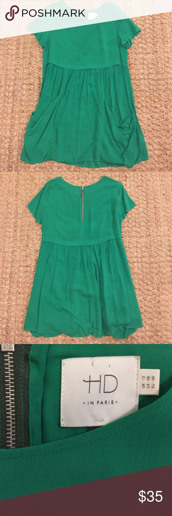 Anthropologie HD Women's Green Dress This casual dress was purchased at Anthro and worn twice. It features two drape-y front pockets and a back half-zip. In the photos it looks a little turquoise but it's true green. Shirt dress is perfect for casual days with leggings. Anthropologie Dresses Midi