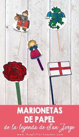 Marionetas de papel imprimibles para pegar en un palito y representar la leyenda de San Jorge con motivo del Día del libro el próximo 23 de Abril. Se pueden utilizar en el aula de inglés en educación infantil o educación primaria.