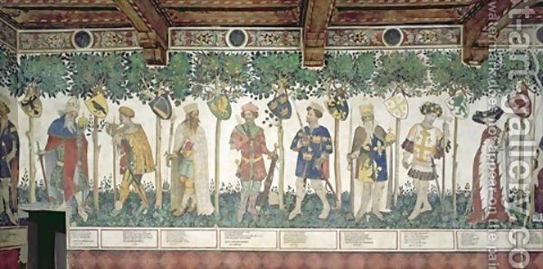 The Nine Worthies and the Nine Worthy Women detail of Julius Caesar Joshua King David Judas Maccabeus King Arthur Charlemagne Godfrey de Bouillon and Delphine