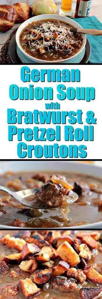 German Onion Soup with plenty of caramelized onions, beer, bratwurst and pretzel roll croutons will soon become a family favorite! - Kudos Kitchen by Renee - www.kudoskitchenbyrenee.com