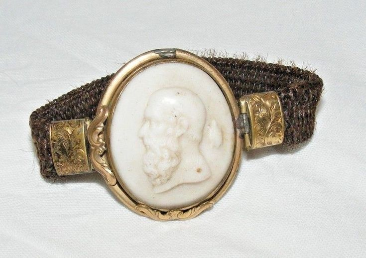 ANTIQUE VICTORIAN HAIR MOURNING BRACELET SOCRATES ZENO OF ELEA CAMEO PHILOSOPHER
