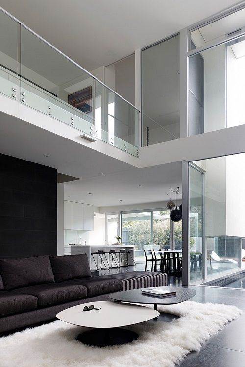Beautiful Large Spacious Air Space Living Room Black White Architecture  Robinson Road House By Steve Domoney Architecture