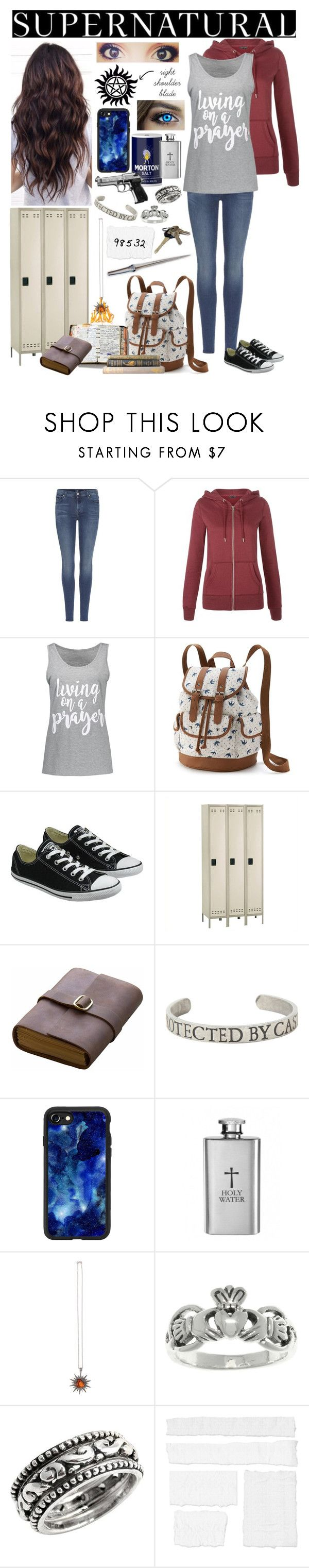 """""""Supernatural OC - a job in a school"""" by seachild41539 ❤ liked on Polyvore featuring 7 For All Mankind, New Look, Candie's, Converse, Safco, Peek, Rear View Prints, Hot Topic, Casetify and Colette Jewelry"""