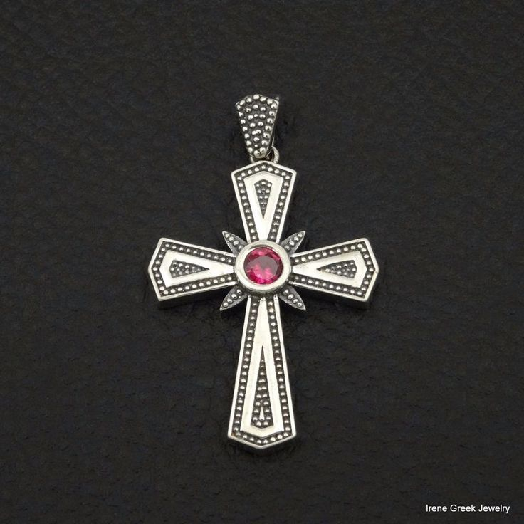 LUXURY PINK RUBY CZ BYZANTINE 925 STERLING SILVER GREEK HANDMADE ART CROSS #IreneGreekJewelry #Pendant