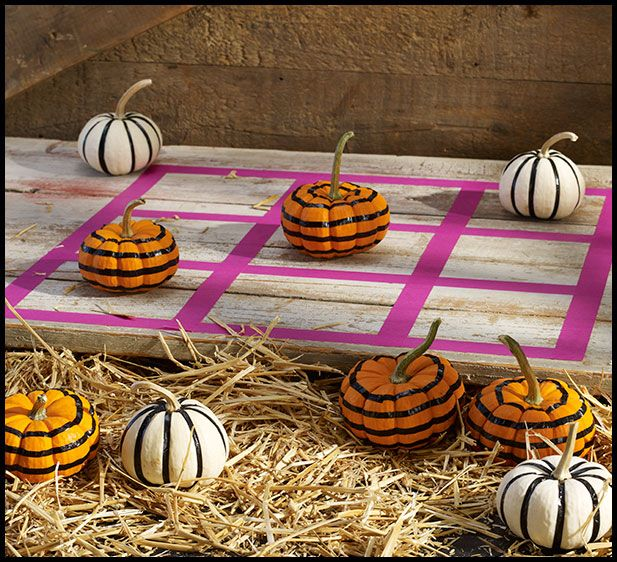 Cute idea to entertain kids at a Halloween party! Just use Expressions Masking Tape to create a pumpkin-themed game of Tic Tac Toe.: