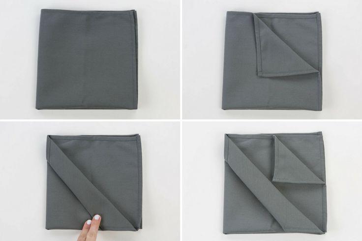 Pliage de serviette range-couverts: étapes 1à 4