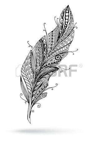 Artistiquement dessin e stylis vecteur plume sur un fond blanc  Banque d'images