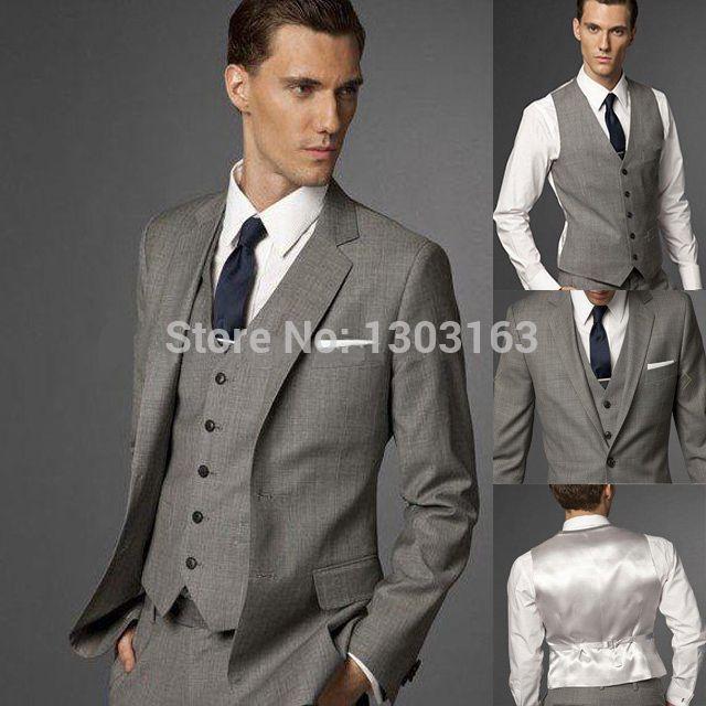 Костюмы с боковыми разрезами серый жених смокинг нотч жениха мужчины свадьба костюмы ( куртка + брюки + перевязка + жилет )
