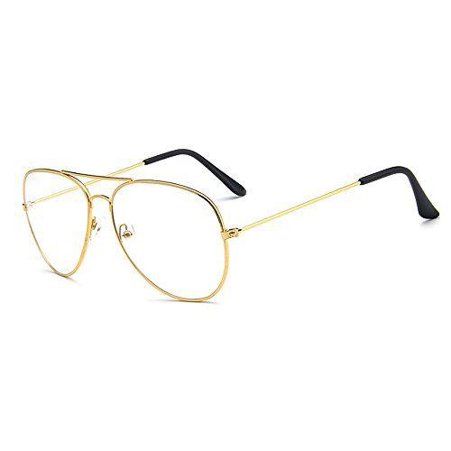 e634e8a46276dc Lunettes de Rétro Modèle Aviateur Skitic Unisex Métal Monture Frame  Transparents Lentille Eyeglasses pour Homme et