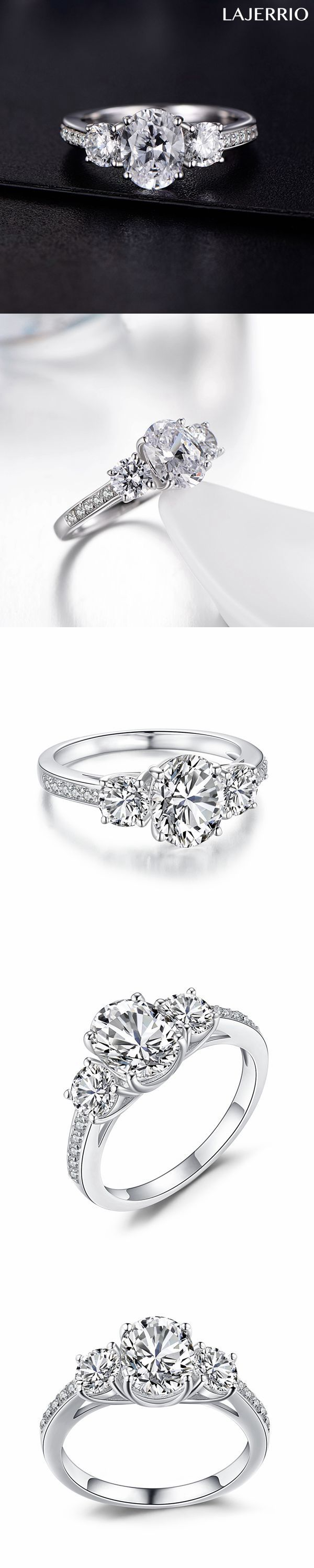 Lajerrio Jewelry Oval Cut Gemstone S925 Engagement Ring