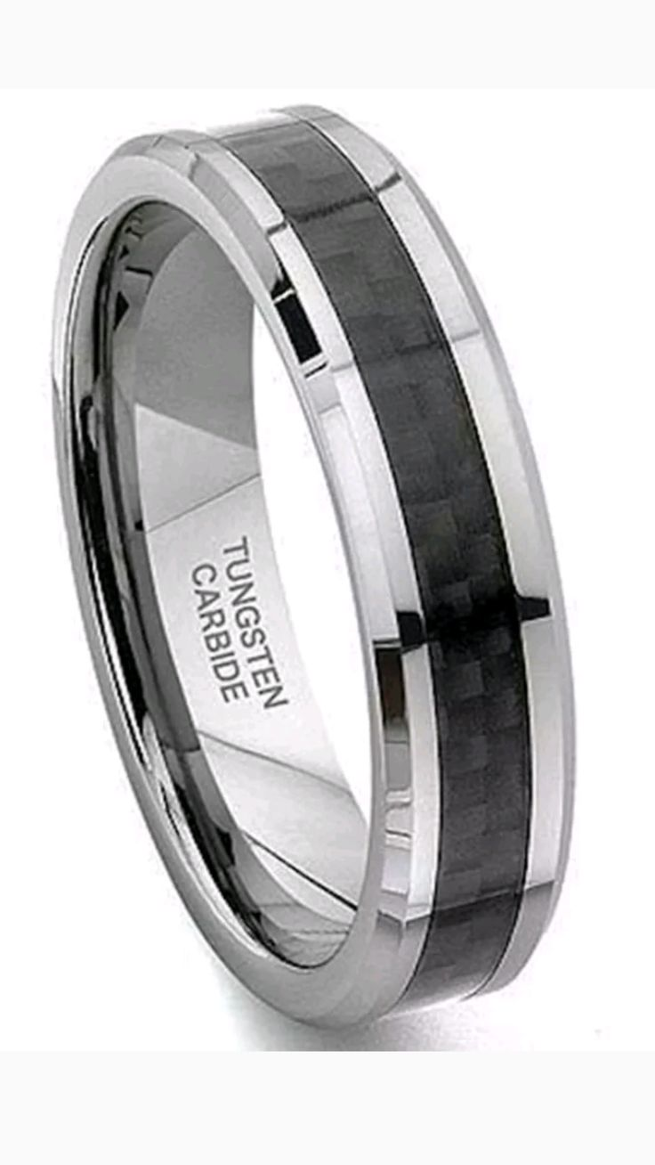 6mm Tungsten Jewelry Black Carbon Fiber men's Wedding Band Ring
