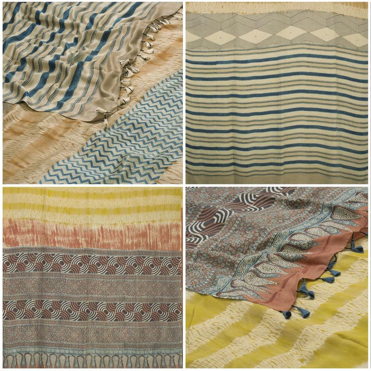 Today's specials are a pair of beautiful Shibori Tussar Silk Saris from the Venkie Reddy Collection. The Shibori work on the body is enhanced by beautiful Ajrakh prints on the pallu.