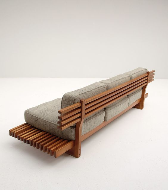 HANDCRAFTED SOFA / BENCH 1960S...This is actually very stylish and something almost anyone with basic skills and tools could do. Buying cushions would be end harder part and the expensive part. Unless you know how to source foam and make cushion covers.