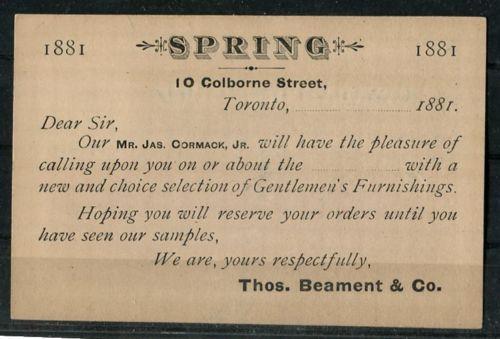Canada-UX2-1c-Dark-Blue-Postcard-Thos-Beament-Co-Toronto-1881-Very-Fine