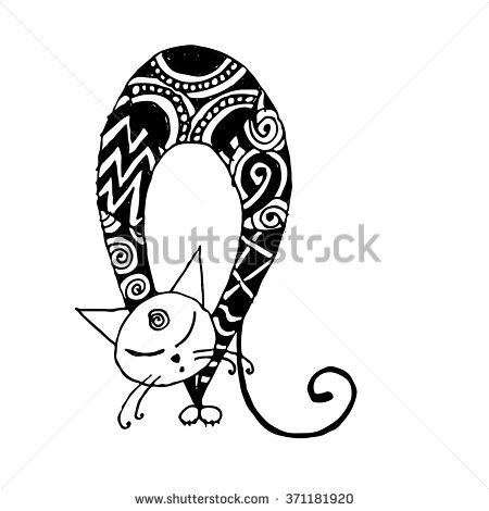 Black cat, zentangle style for your design - stock vector