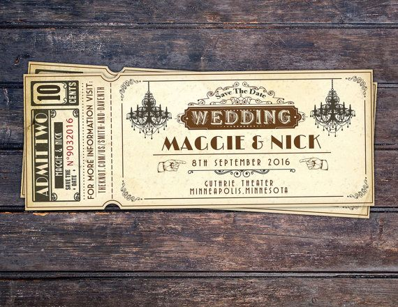 Etsy の Art DecoVintage Retro Save the Date Ticket by LyonsPrints