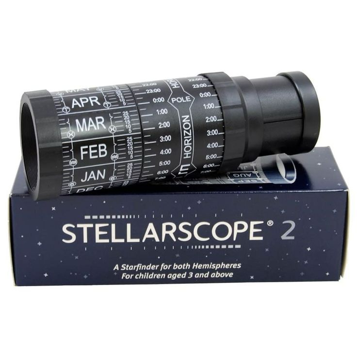 Introduce them to the fascination of studying the night sky with this portable Stellarscope  Dials around the outside of the barrell are set to the hour and date required, showing the stars and constellations visible at the time on an accurate, computer generated disc within the Stellarscope  Latitude compensation rings, northern hemisphere mapping and night illumination keyring included  The Stellarscope is 19cm long and the viewing map is 4cm